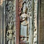 Perhaps the most beautiful Devata at Thommanon, with a leaf-like structure in the center of her crown. Siem Reap, Cambodia http://www.Devata.org
