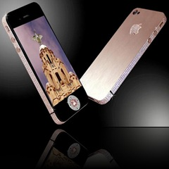The most expensive phone in the world a custom upgraded iPhone 4 worth ?5million. See SWNS story SWPHONE: This incredible bedazzled iPhone 4 was unveiled as the world's most expensive phone - worth an eye-watering ?5 MILLION. British designer Stuart Hughes, 38, will only make two of the handmade rose gold models which feature more than 500 individual flawless cut diamonds, totaling 100ct. Each dazzling handset comes complete with two rare diamonds which were sourced from Australia and are worth over ?4 million together. The backs of the phones also glitter with 53 diamonds surrounding the Apple logo, which is rose gold. Dad-of-two Stuart, from Liverpool, was commissioned to make the phones - which took two months to make - by a wealthy Australian businessman.