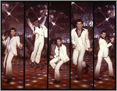 "In a special 30th anniversary celebration, the Academy of Motion Picture Arts and Sciences' ""Monday Nights with Oscar®"" (MNWO) will present a screening of ""Saturday Night Fever"" on Monday, August 13, at 7:30 p.m. at the Academy Theater in New York City.  The program will feature a post-screening onstage discussion with actresses Karen Lynn Gorney and Donna Pescow, costume designer Patrizia Von Brandenstein and casting director Shirley Rich. Pictured here: a sequence of five images of John Travolta dancing in a discotheque in a scene from the film.  Courtesy of the Margaret Herrick Library."