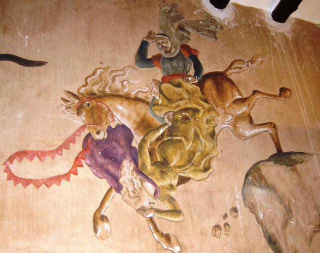 Pintura a la bodega del monestir d'Escornalbou