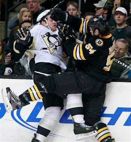 Bruins Adam McQuaid hits Penguins Matt Cooke
