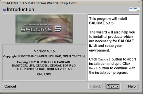 Screenshot-SALOME 5.1.5 Installation Wizard - Step 1 of 8