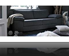 canapé classique noir3-places