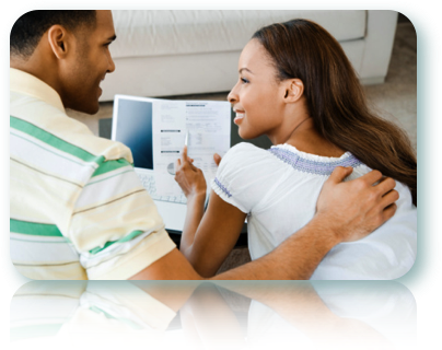 African American couple looking at stats and comparing a short term loan to an installment loans.