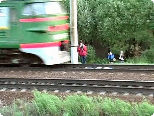 Dangerous Play by Russian Teens in railway track (2)