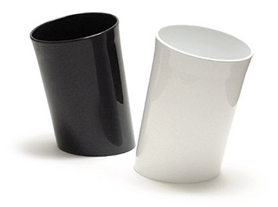 In Attesa wastebasket, black and white