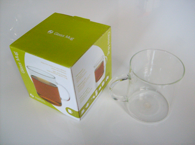 Glass mug box and mug