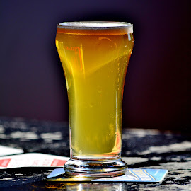 Beer in the sun by Erin Czech - Food & Drink Alcohol & Drinks ( reflection, beer, beer glass, beer mat, bar, sunlight )