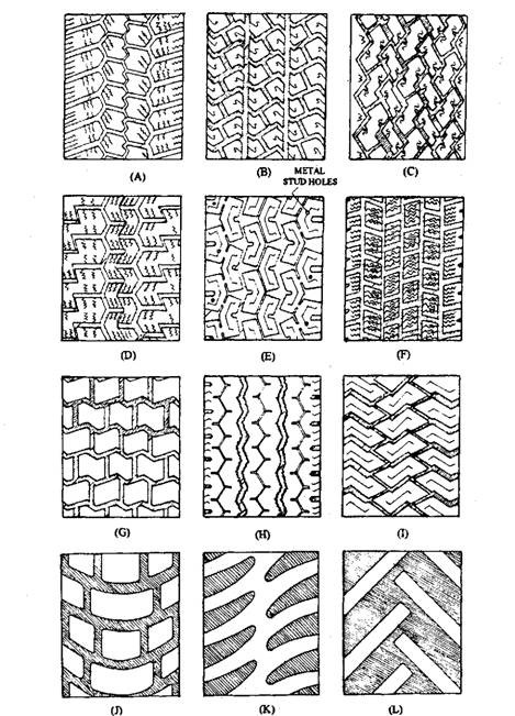 Survey of tyre treads patterns. A. Car moderate speed radial. B. Car high speed radial. C. Car very high speed radial. D. Car wet weather radial. E. Car winter radial with moulded stud holes. F. Car winter radial. G. Light vehicles off I on road winter tread. H. Truck steer axle tread. I. Truck drive axle tread. J. Truck rough ground tyre. K. Truck cross-country tyre. L. Tractor cross country tyre.