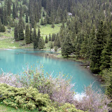 A schelp up the valley on Orligh, my trusty steed, and we are rewarded with a sea-green alpine lake