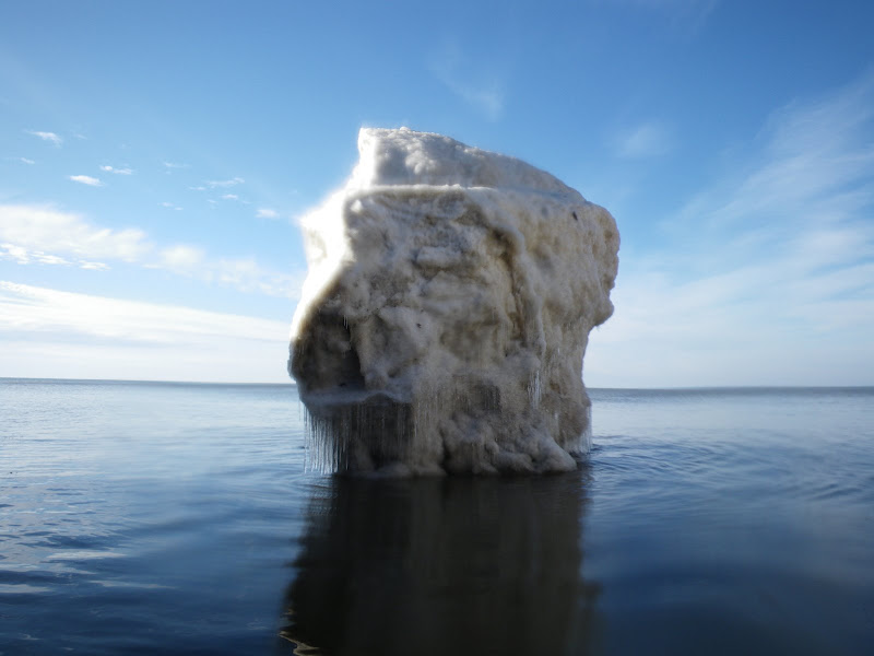 Ice sea stack formed on Lake Michigan Shore line taken from sea kayak