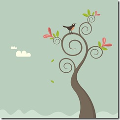 bird on swirly tree
