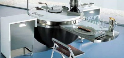 sheer spherical kitchen island with pullout table La cocina más cool del mundo