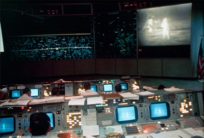Interior view of the Mission Operations Control Room (MOCR) in the Mission Control Center (MCC),