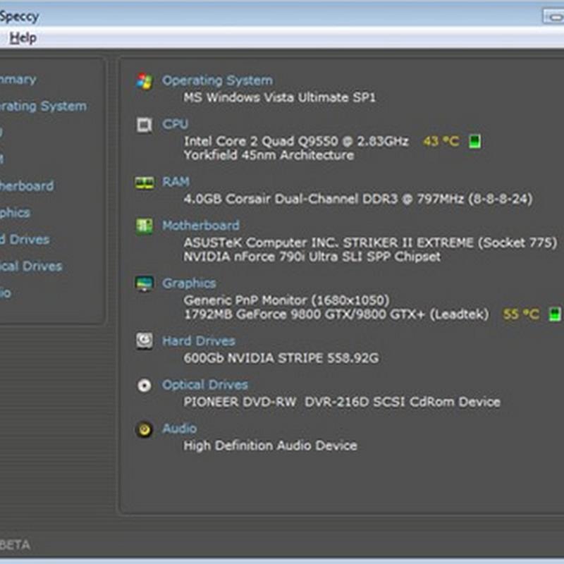 Información del hardware de tu Pc con Speccy