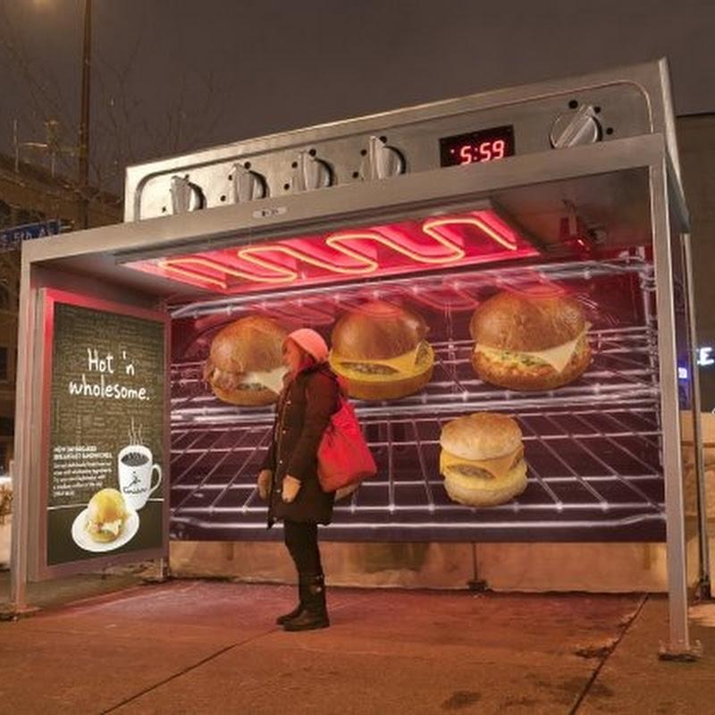 [Publicidad] Un horno gigante como parada de bus