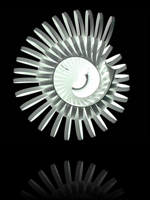 Un luminaire de papier qui reprend une forme de coquillage.