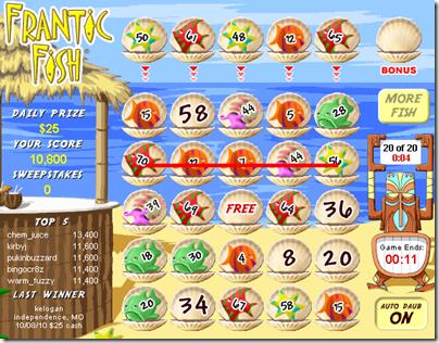 Me losing at Frantic Fish. Again.
