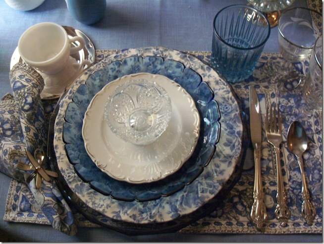 Blue chintz table with food 016