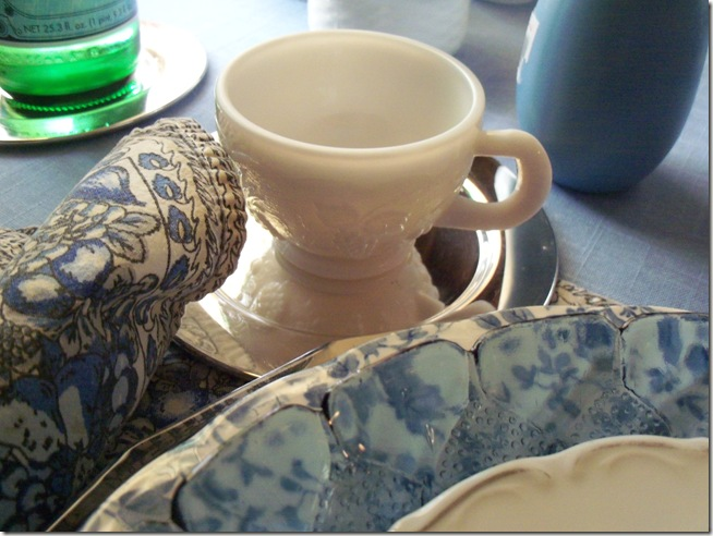 Blue chintz table with food 017
