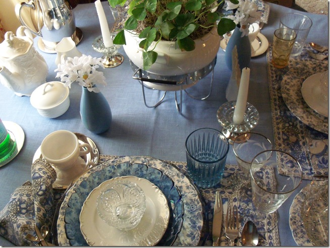 Blue chintz table with food 021