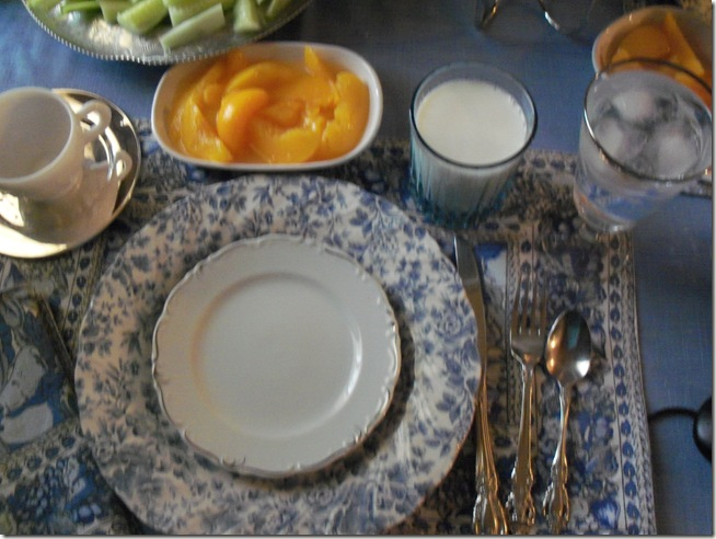 Blue chintz table with food 036