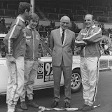 "At the start in Wembley, a gurning Lord Stokes suited with the crew of Car 92 - XJB303H. From left to right Evan Green, Hamish Cardno and ""Gelignite"" Jack Murray. Picture courtesay of John Lindsay."