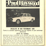 "XJB303H for sale in 1970 - £1650! In 1970 this was about the list price of a new standard road car - note how some ""salesmanship"" creeps in, the engine now has 200 bhp and not the 138 bhp of the original rally cars. It's grown ""aluminium body panels"" well not really true - bonnet, boot and doors were ally. Four bendix pumps? For what - it should have 2 for transfers from the bag tanks and 2 Lucas ones for the injection. Mind you, who cares, £1650 - bargain, wrap it up I'll take it now!"