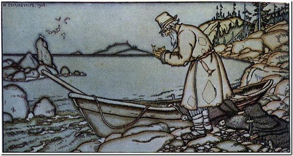 """""""Вернулся невод с одною рыбкой..."""" Иллюстрация И.Я. Билибина для """"Сказки о золотой рыбке"""" А.С. Пушкина"""