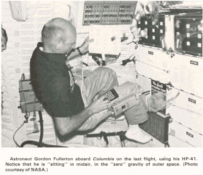 Astronaut Gordon Fullerton aboard Columbia on the last flight, using his HP-41. Notice that he is sitting in midair, in the zero gravity of outer space. (Photo courtesy of NASA.)