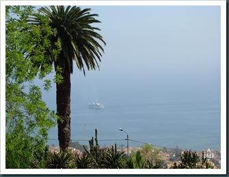 DSC03334-Funchal-et-bateau-depuis jardin botanique BW