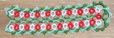 Tatted bookmark in red, green, and white