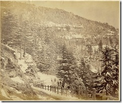 Simla in winter, a photo by Bourne, c.1860's