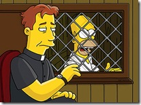 Liam Neeson as a priest, hearing confession with Homer
