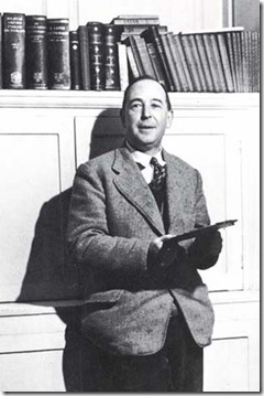 C.S. Lewis, author of Mere Christianity, pictured here with old books