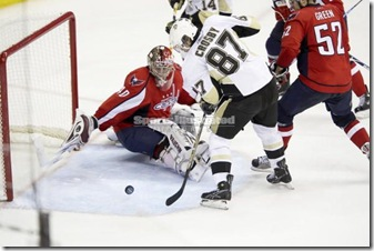 Sidney Crosby about to score a goal