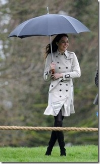 Kate Middleton sporting an umbrella