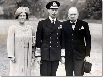 Queen Elizabeth, King George VI, Winston Churchill for real though bearing a striking resemblance to those in The King's Speech