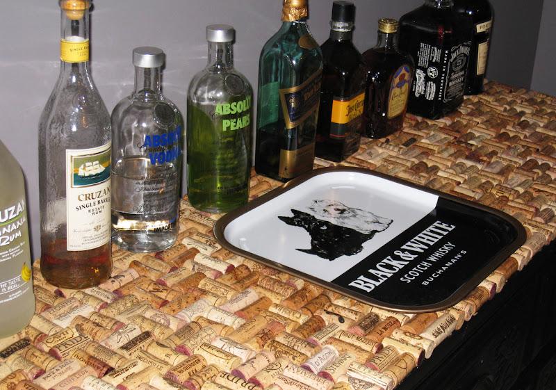 Decorating obsessed my wine cork dresser for Cork bar top