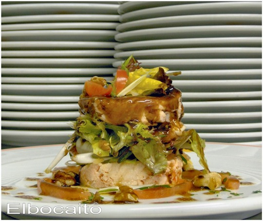 Ens. Salmón poché, nueces y cebolleta. Salsa vinagreta de Módena 013 (Grande)