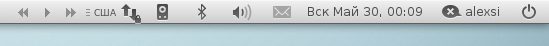 Rhythmbox в панели GNOME