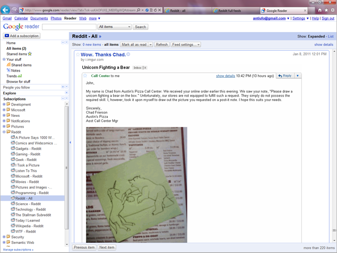 Reddit full RSS feeds on Google Reader
