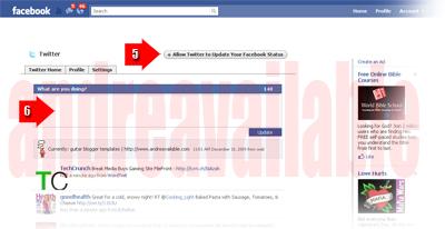 twitter masuk facebook, twitter in facebook, twitter mengupdate status facebook, update status facebook lewat twitter
