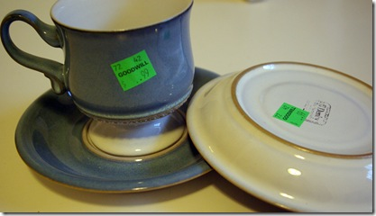 Denby pottery Castile pattern; great condition \u2013 2 cups 2 saucers. Although each piece was marked 99 cents I bought four pieces and was charged $2.00. & Wee Kitchen: Goodwill pull