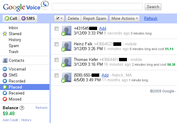 Google Voice Placed Calls