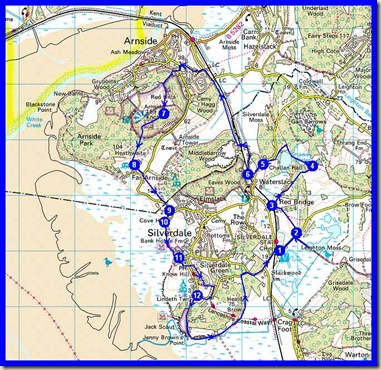 28 October 2009 - our route around Silverdale/Arnside