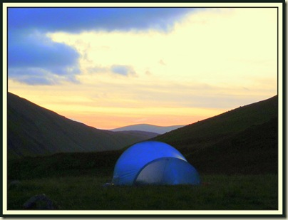 The view from my tent around sunset on Day 2, near the Megget Stone