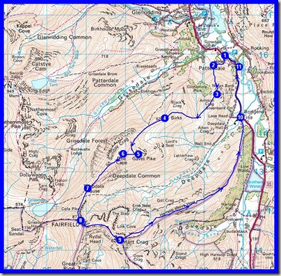 Our route - 15km, 1100 metres ascent, 7.5 hours