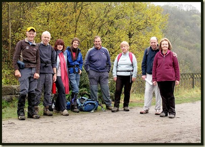 A group photo after elevenses, from the left - Martin, David, Sue, Sue, Andrew, Gaynor, Nicky and Jenny