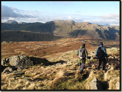 Heading across Martcrag Moor, with Great Gable conspicuous to the left